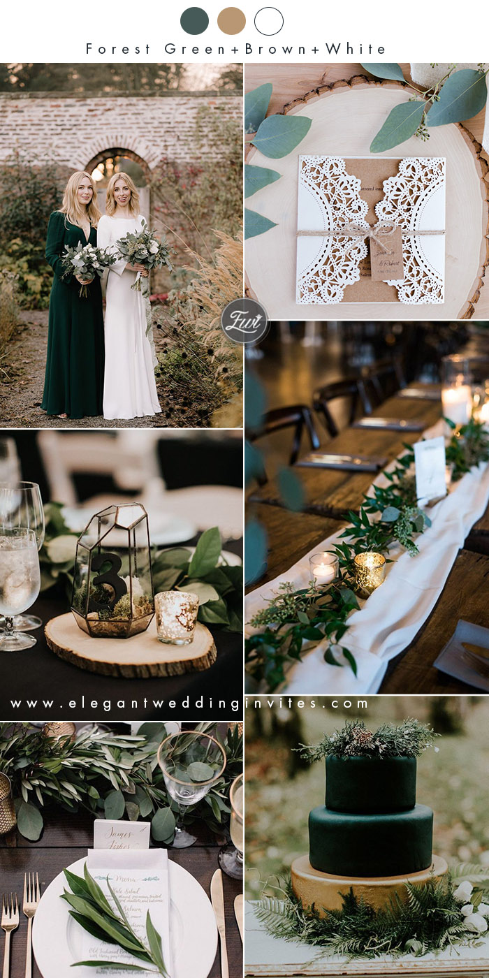 forest green,brown and white organic winter wedding ideas