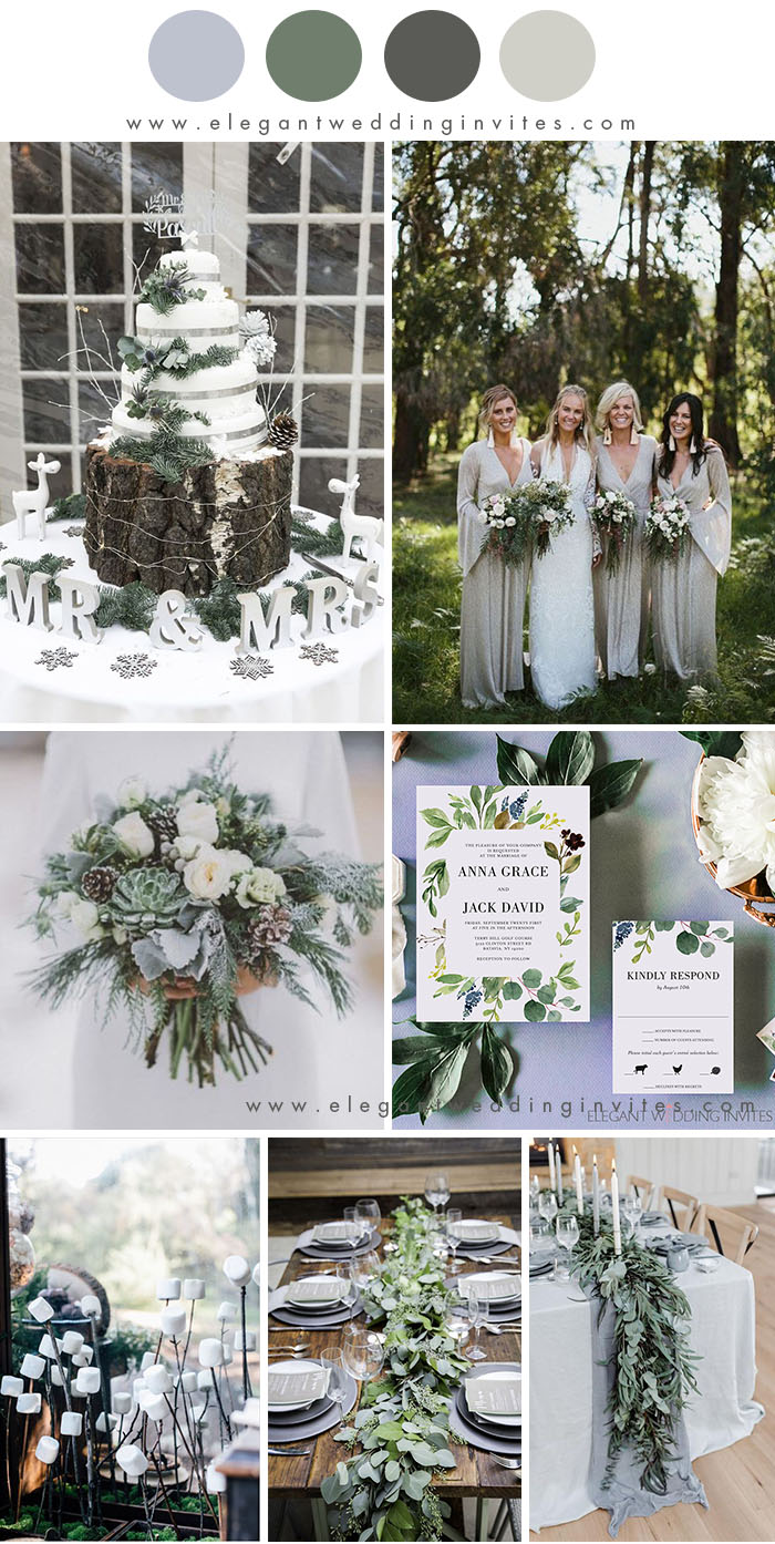 light grey and silver green winter rustic chic wedding colors