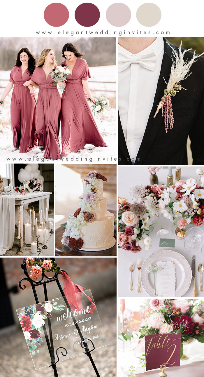 light rose and pale blush romantic winter wedding colors