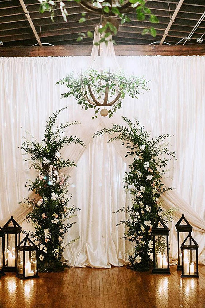 lovley white and greenery winter wedding altar ideas