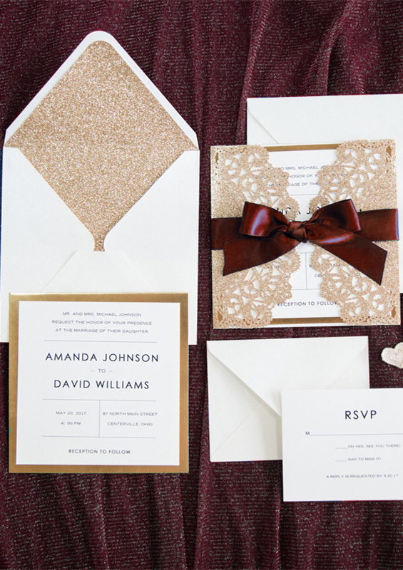 maroon and marsala rose gold laser cut wedding invitations