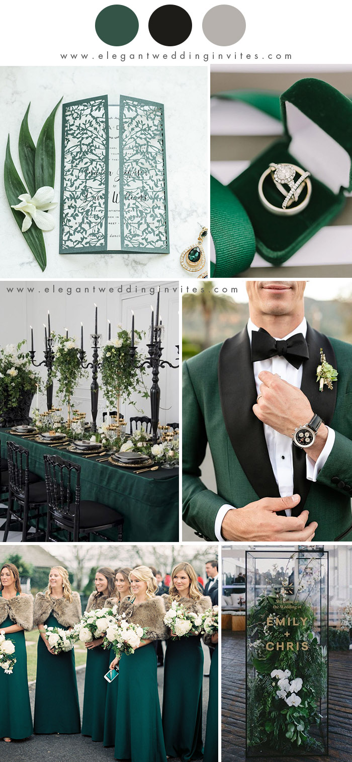 modern classic forest geen and black winter wedding colors