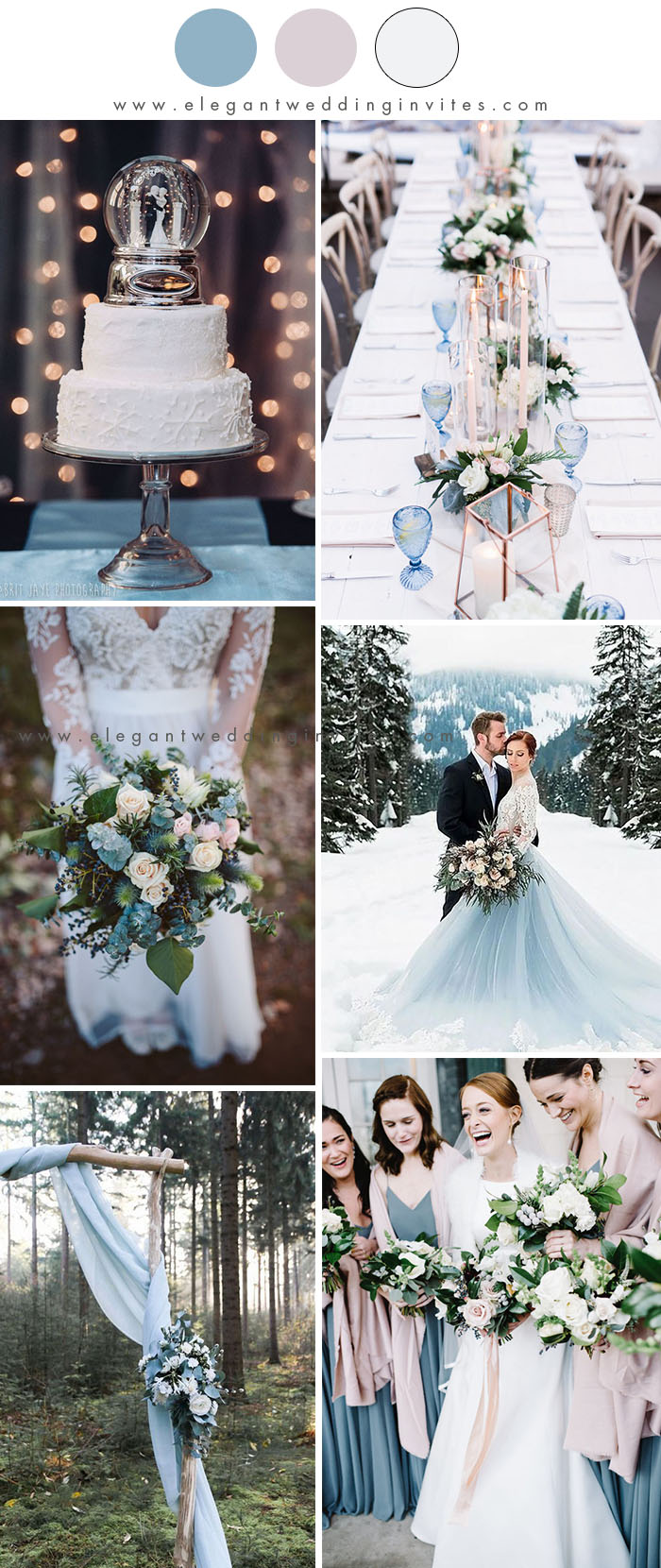 romantic dusty blue and blush dreamy winter wedding colors
