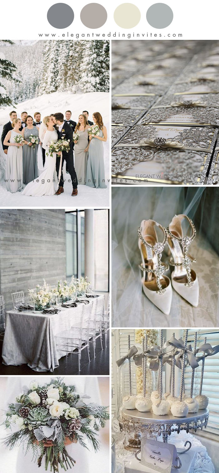 silver and gray winter wonderland wedding color inspiration
