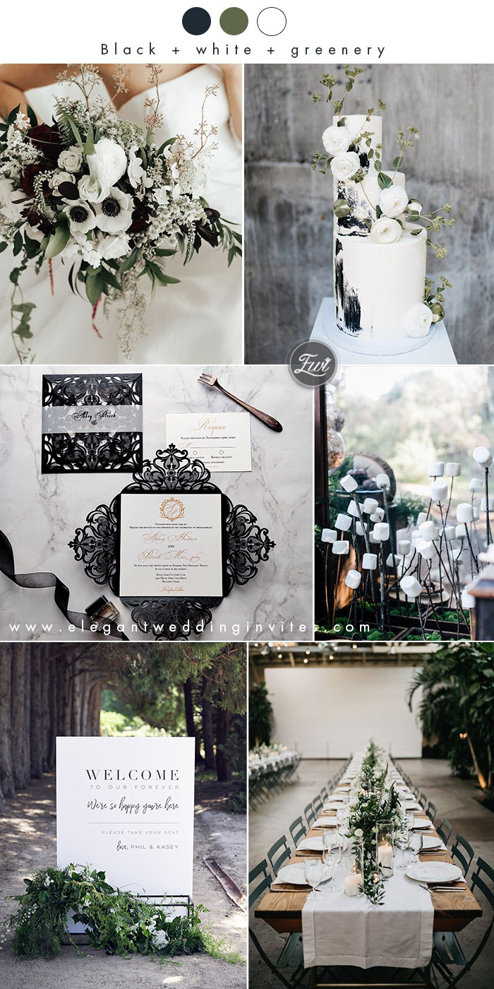 simple white,black and greenery minimalist modern winter wedding colors
