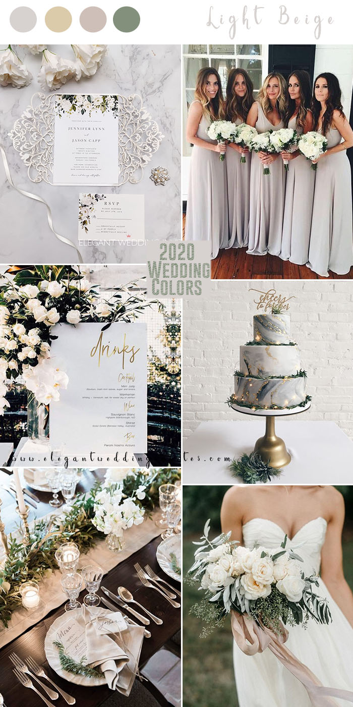 elegant light beige and champagne wedding colors for 2020