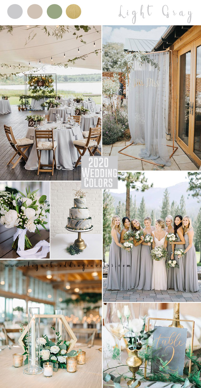 elegant light gray and foil gold summer wedding color ideas
