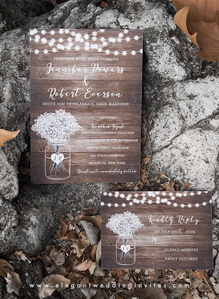 fall rustic chic wedding invitation card with lights