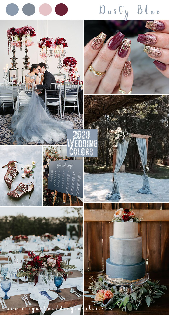 light blue,dusty blue and burgundy romantic fall wedding colors for 2020