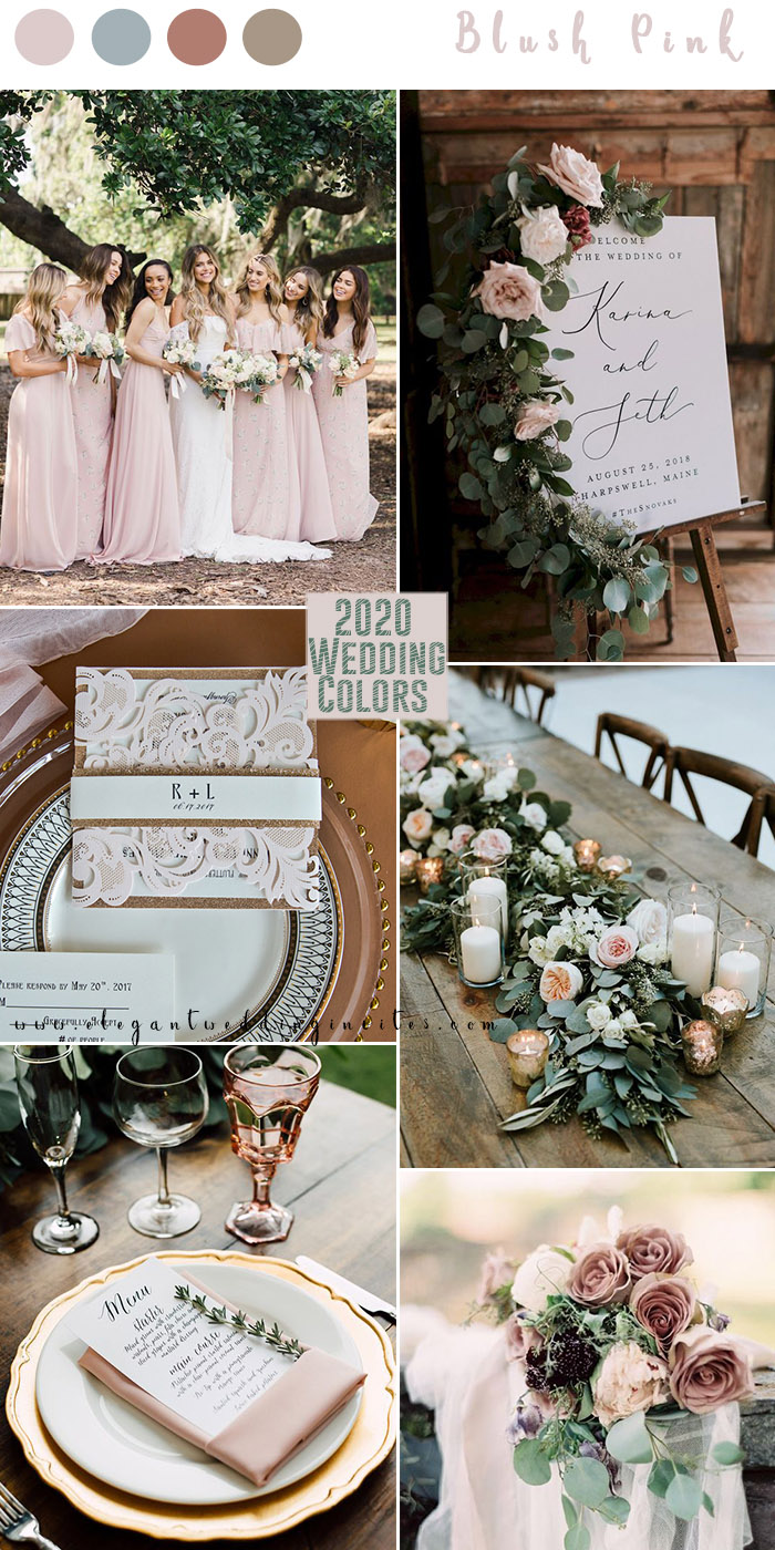 romantic blush pink and greenery with hint of cinnamon rose 2020 wedding colors