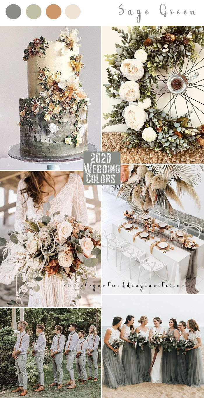 sage green and terracotta brown 2020 wedding color trends