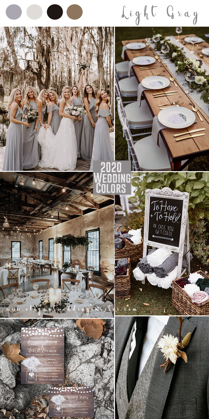 shades of gray color modern rustic wedding color combos for 2020 wedding trends