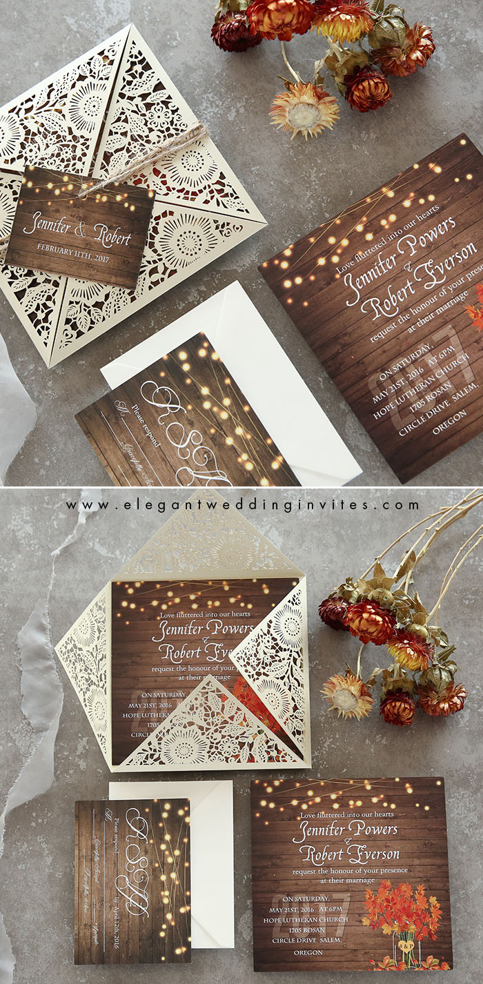 wooden brown and orange maple laser cut wedding invites with lights