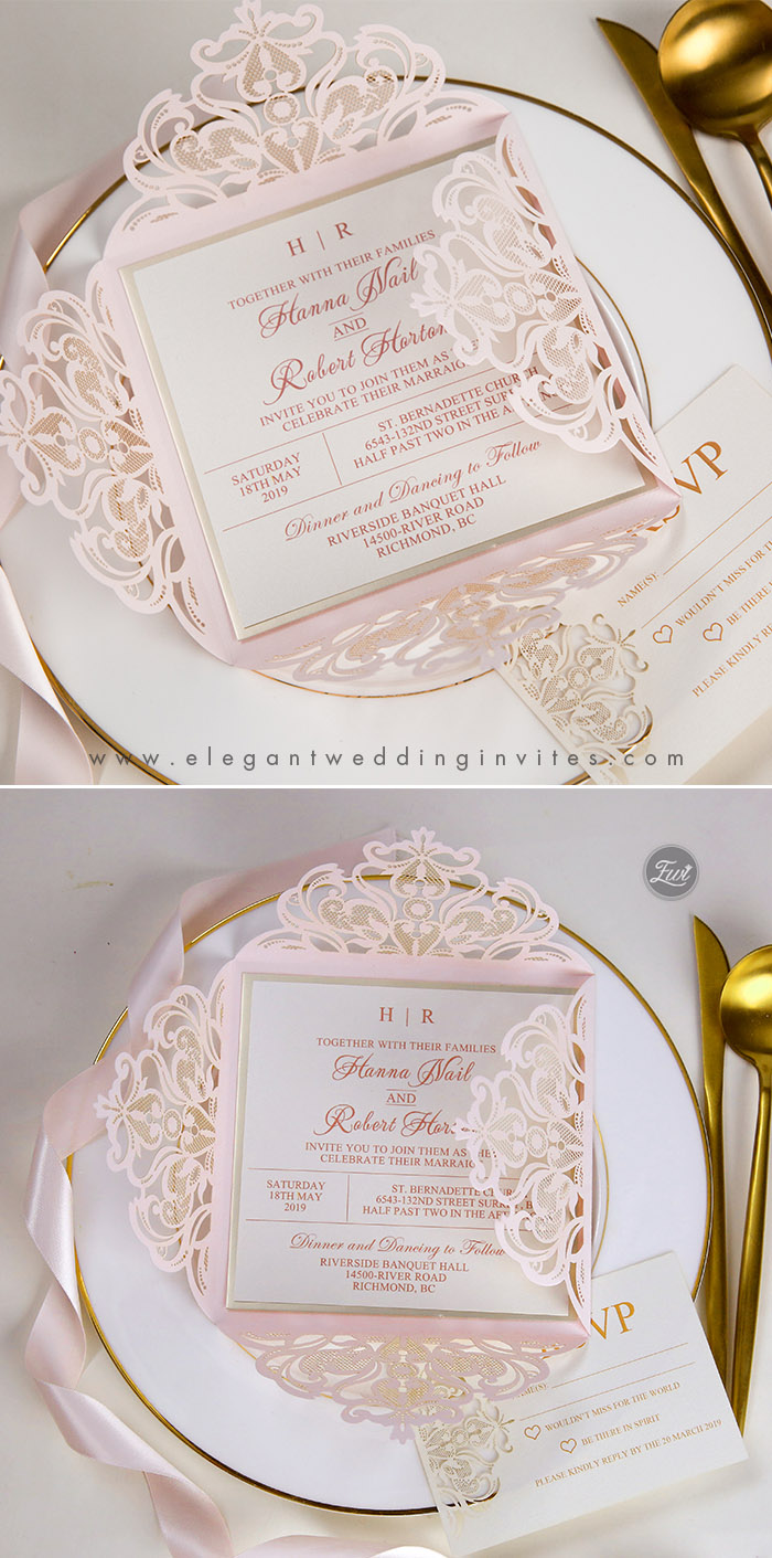 blush and mirrored gold laser cut wedding invites