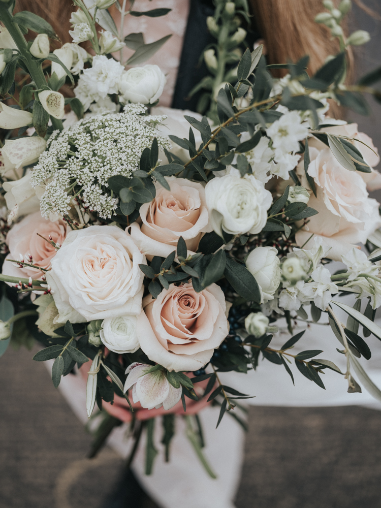 blush and white rose rustic chic wedding bouquets