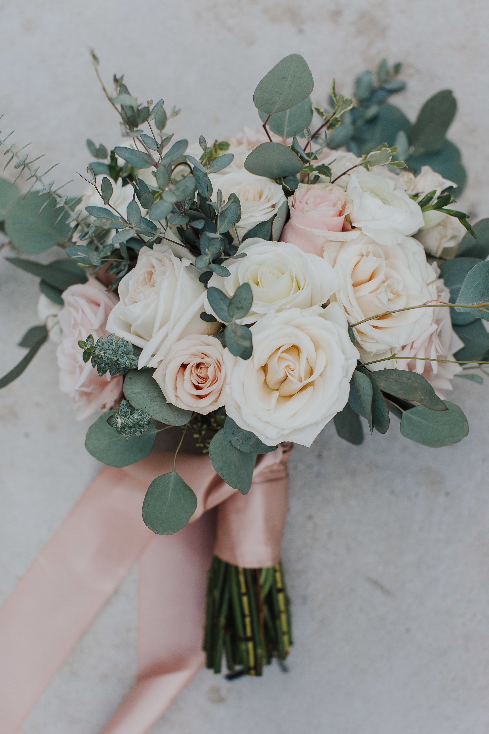 blush pink and greenery wedding bouquets with ribbons