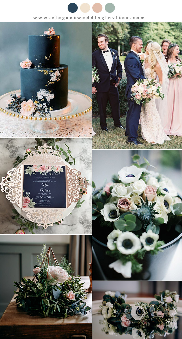 classic navy and blush wedding color inspiration