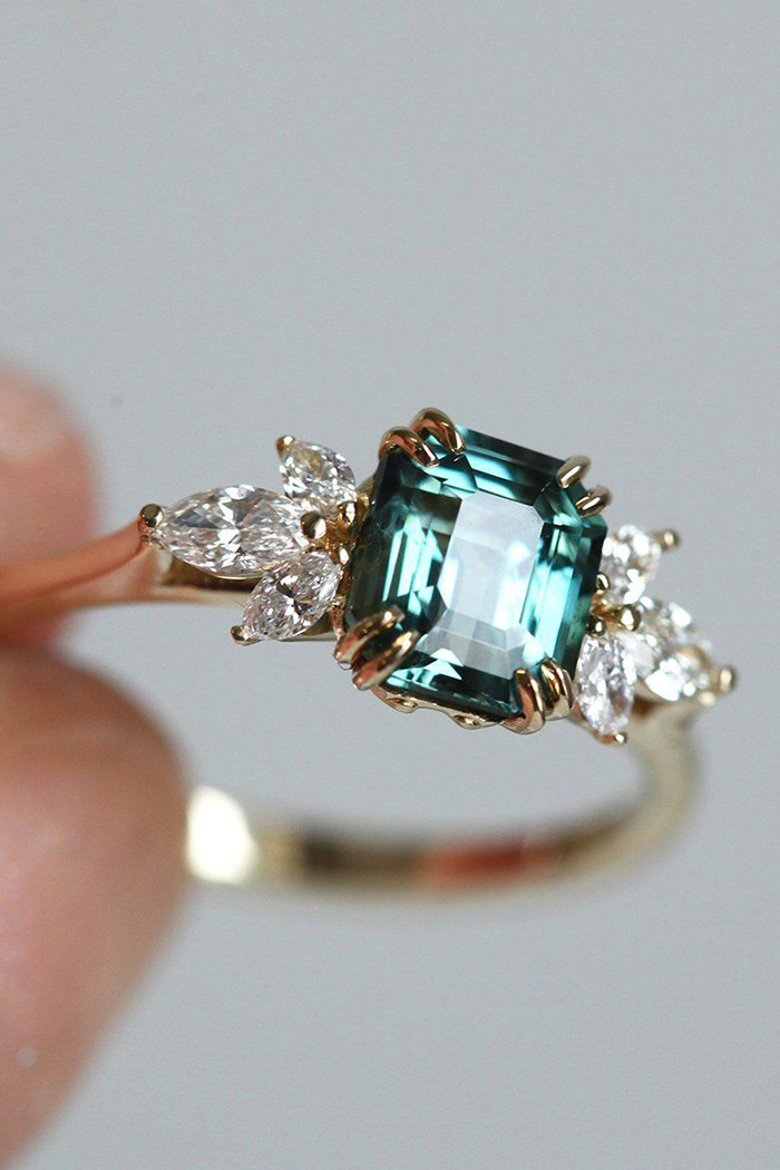 emerald teal sapphire ring with diamonds