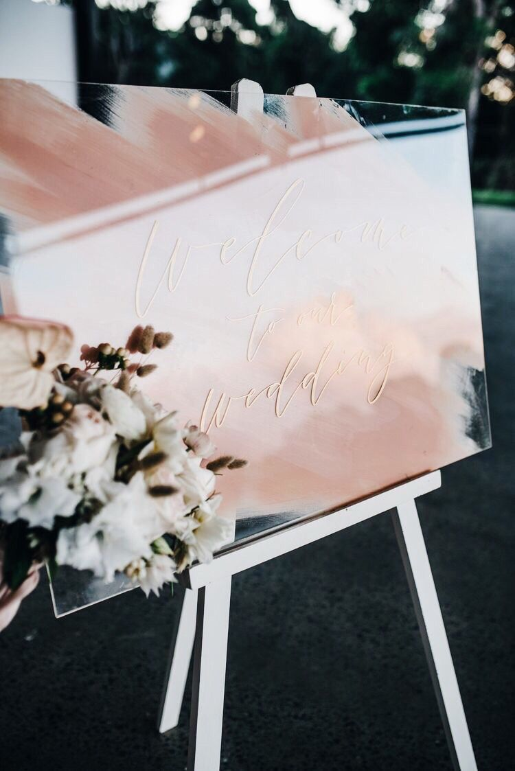 hand painted blush acrylic wedding signs