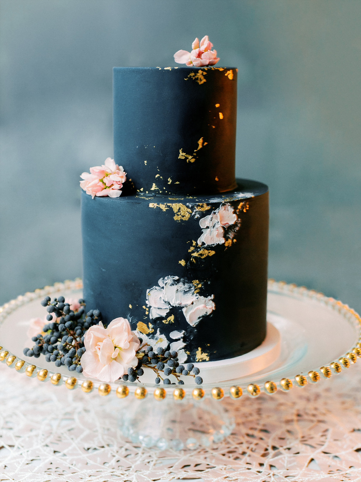 avy blue and blush rose wedding cake with gold accents