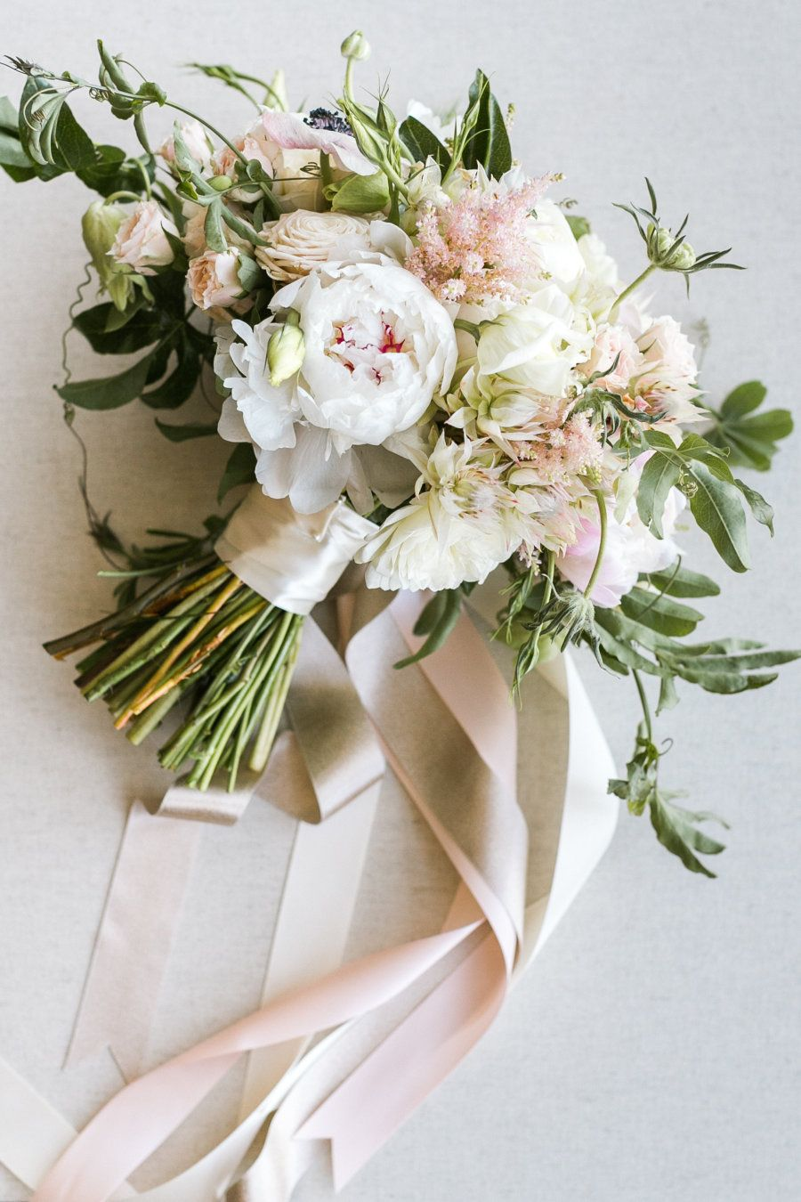 romantic summer time blush wedding bouquets