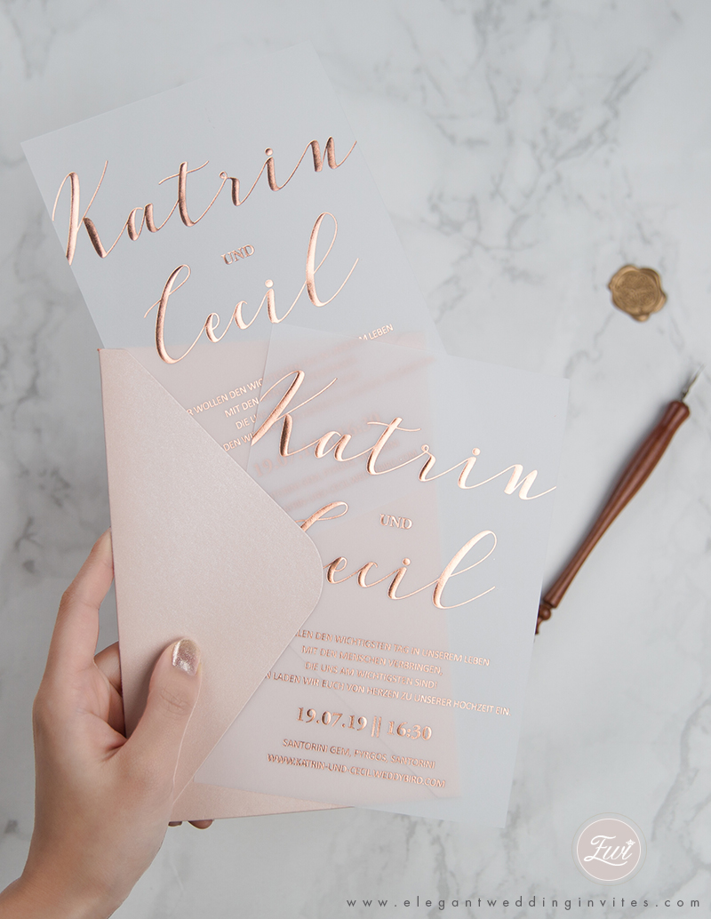 rose gold foil printing on vellum paper wedding invitations