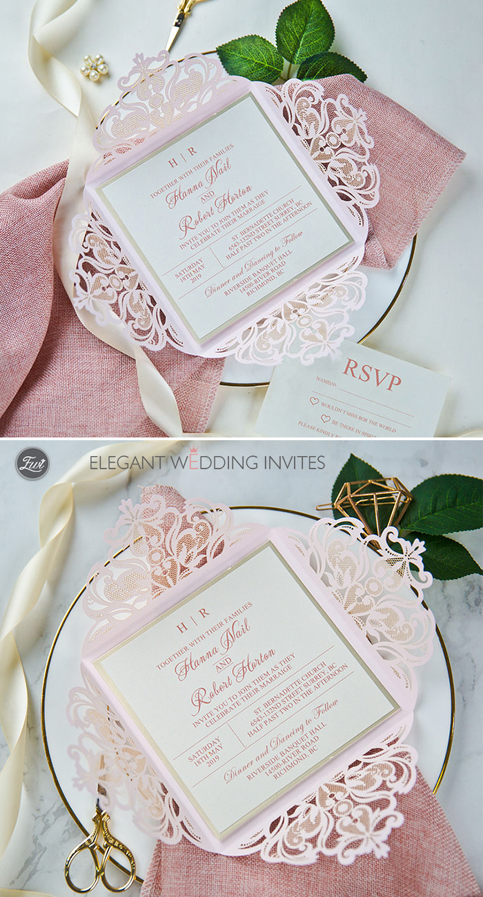 Framed in Blush Blush Laser Cut Fold with Champagne Mirror Backer and Classic Invitation
