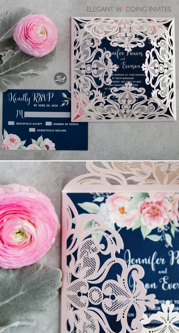 Gorgeous navy blue and blush pink floral watercolor wedding invitation