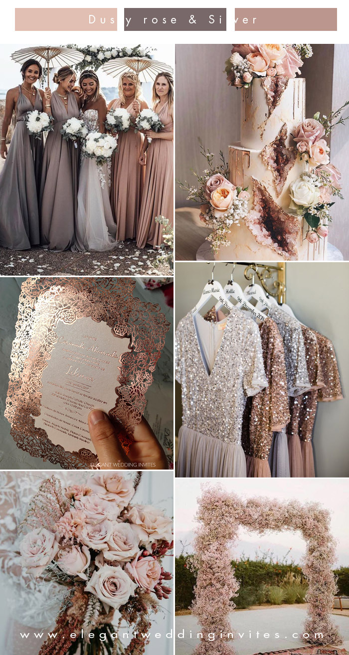 beautiful neutral shade rose gold, blush and dusty rose wedding colors
