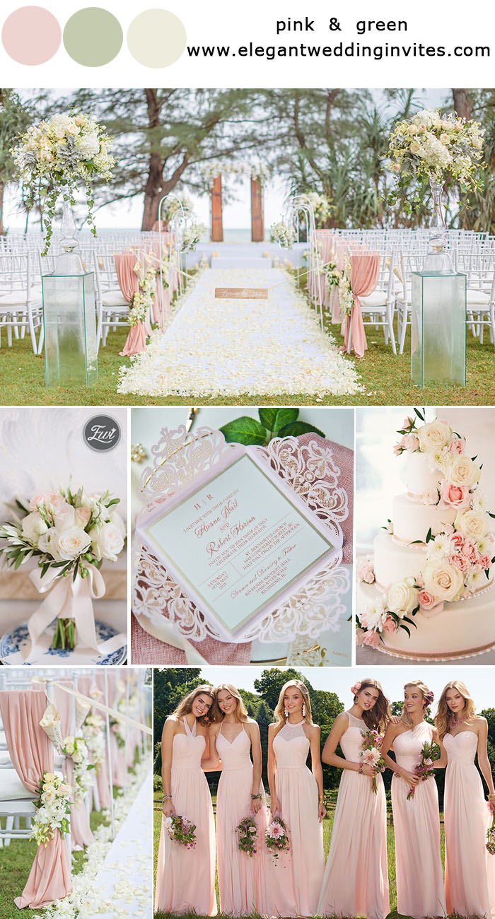 blush pink and light green wedding ideas