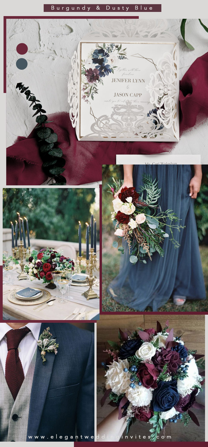 dusty blue and burgundy wedding colors for all seasons