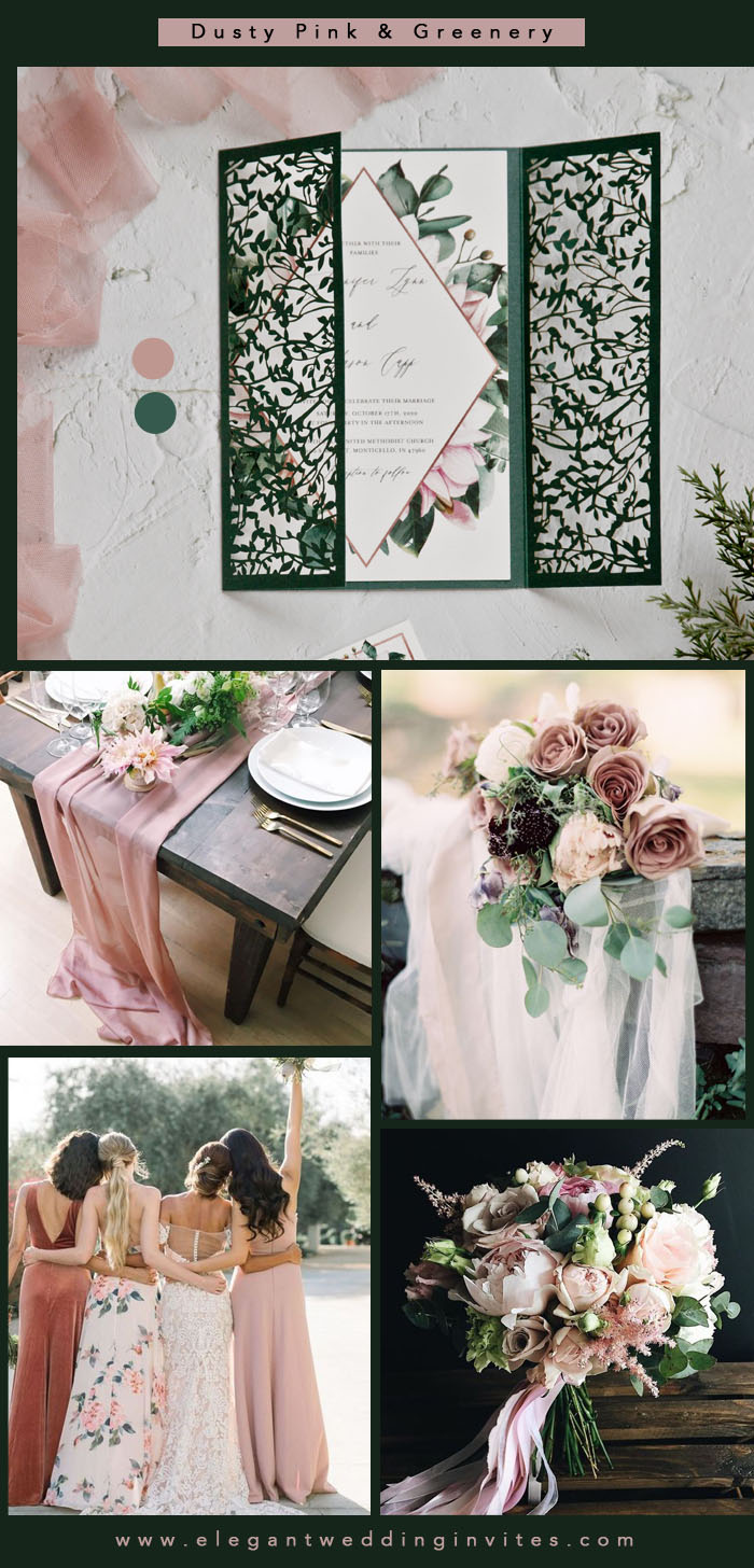 dusty pink and emerald green summer wedding colors