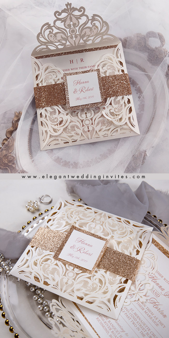 elegant ivory and rose gold belly band laser cut wedding invitations