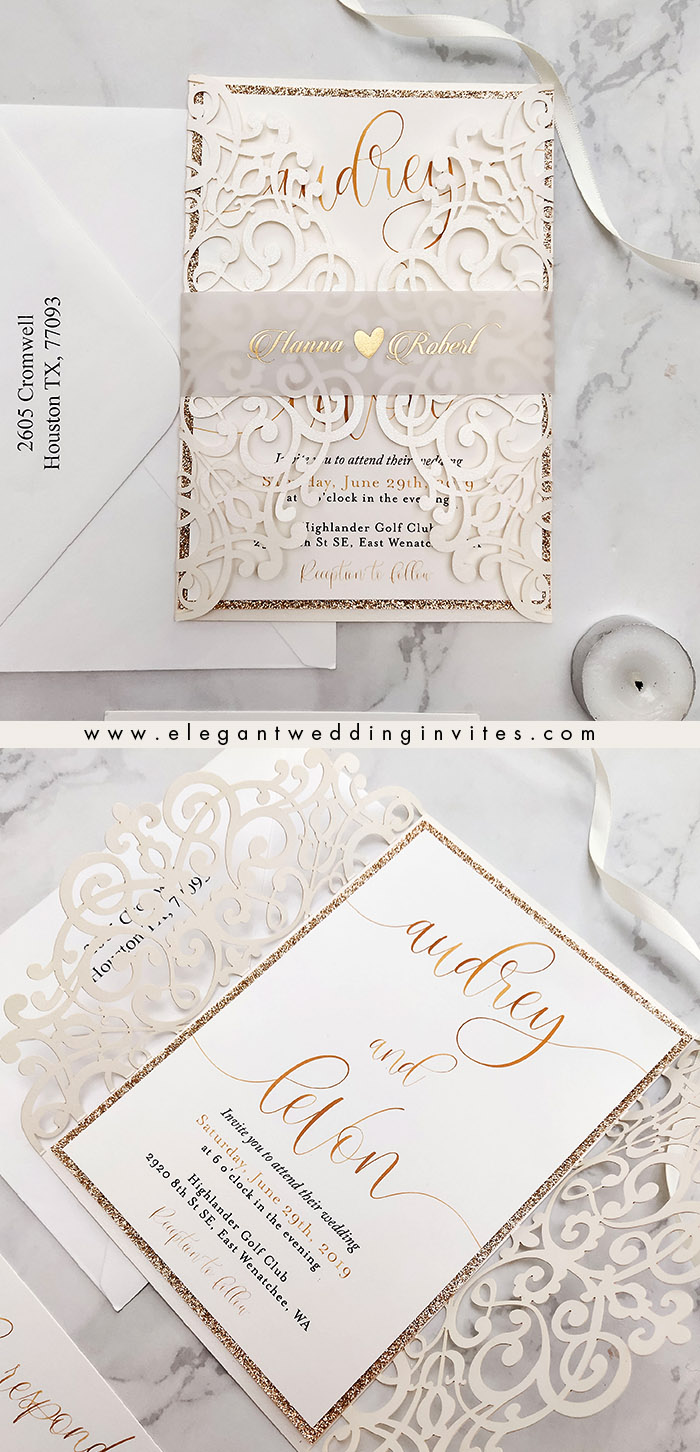 ivory laser cut wedding invites with foil printed vellum belly band