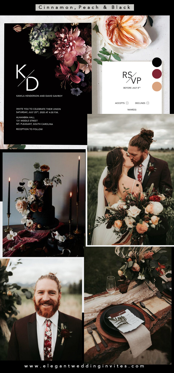 moody black and cinnamon rose fall wedding colors
