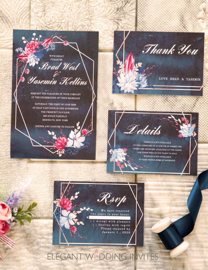 moody midnight blue an geometrci floral wedding invitation cards