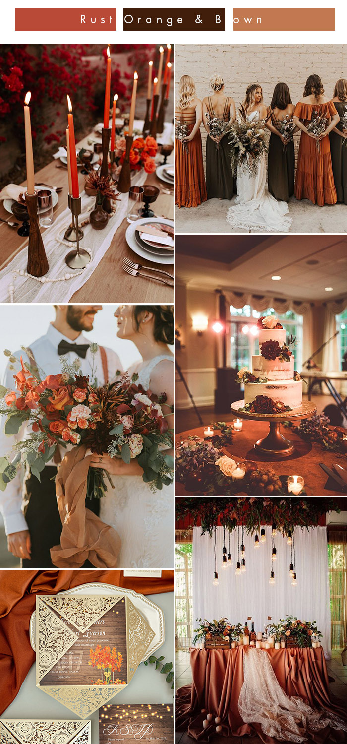 moody rust orange and brown fall wedding color ideas