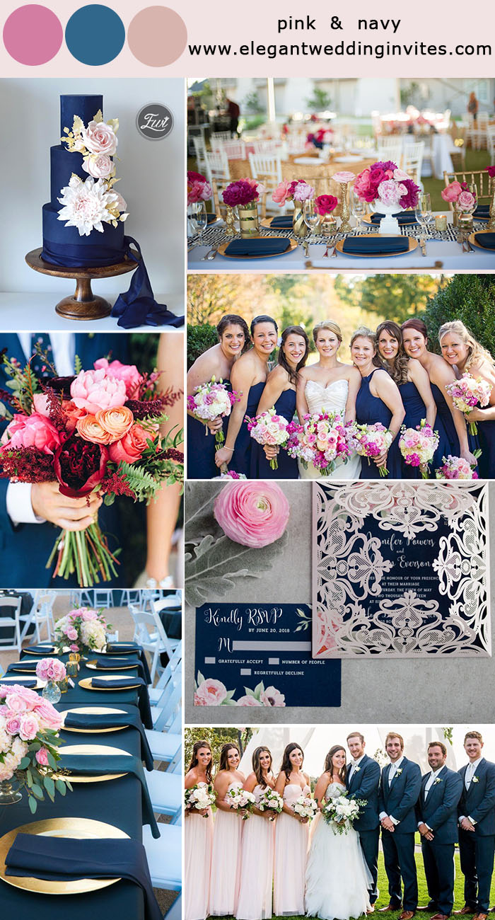 pink and navy wedding ideas