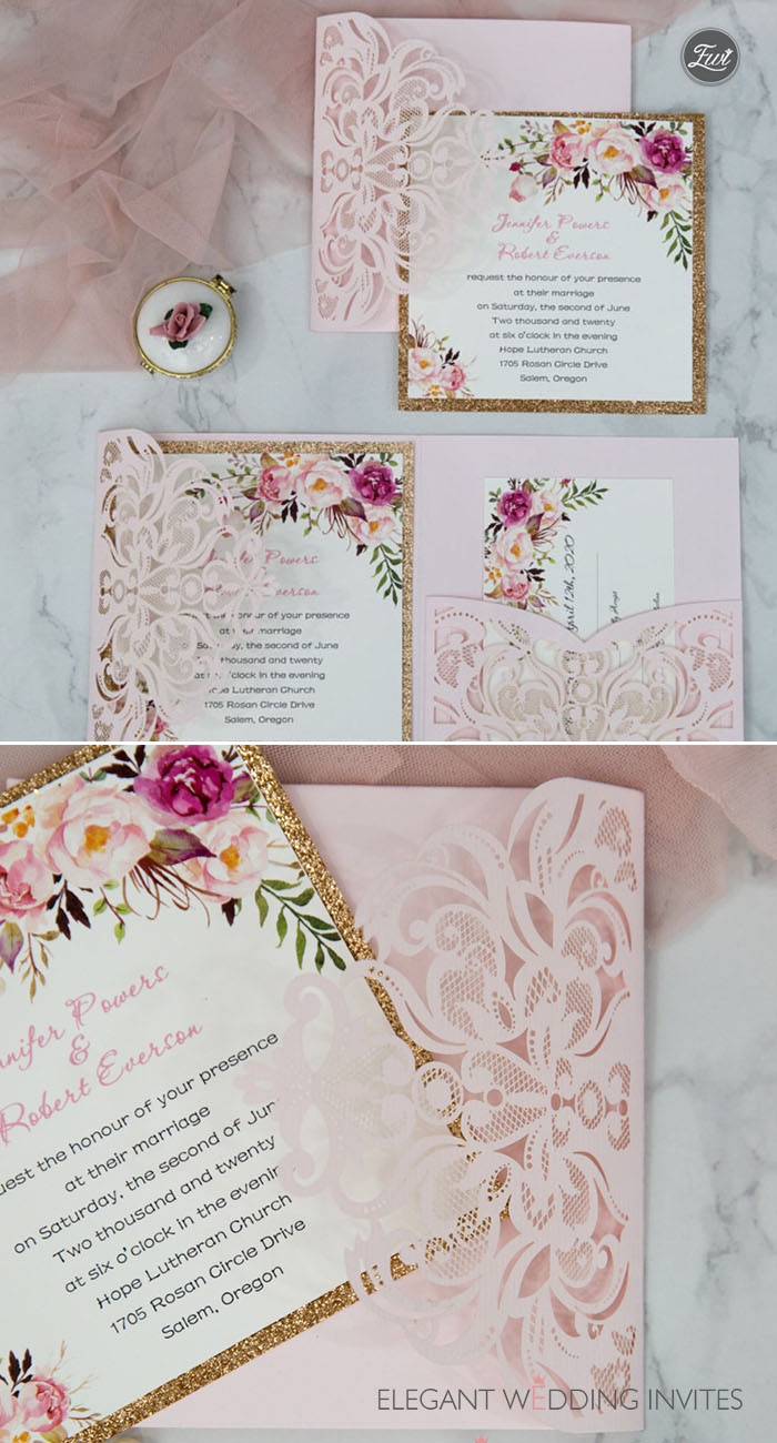 romantic blush pink spring flower glittery laser cut pocket wedding invitation
