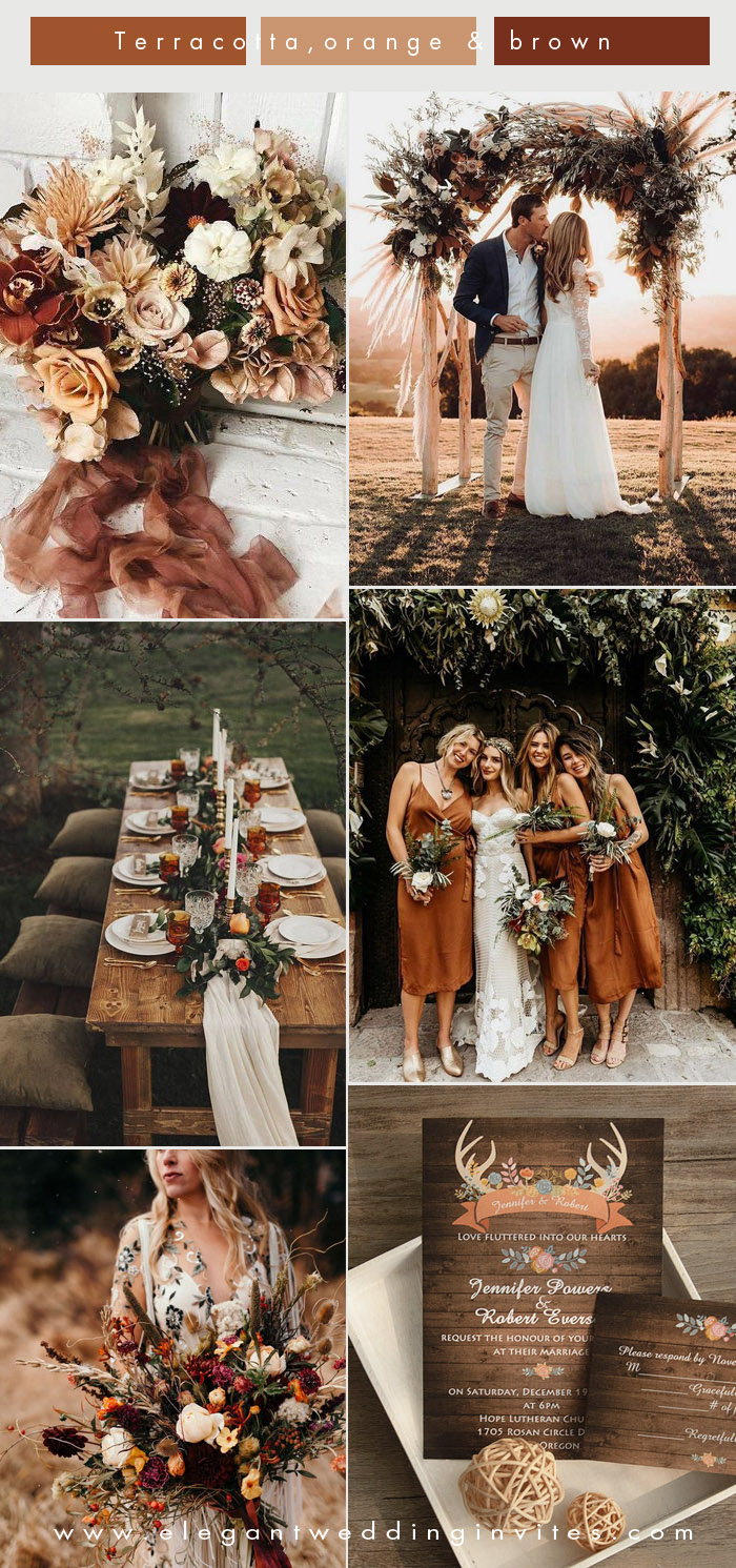 romantic boho style terracotta, orange and brown fall wedding colors