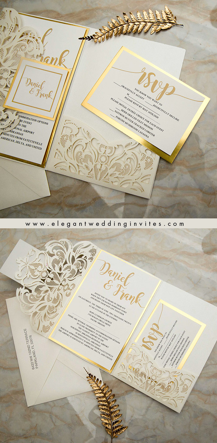 shimmering gold and ivory laser cut pocket wedding invitation with tags