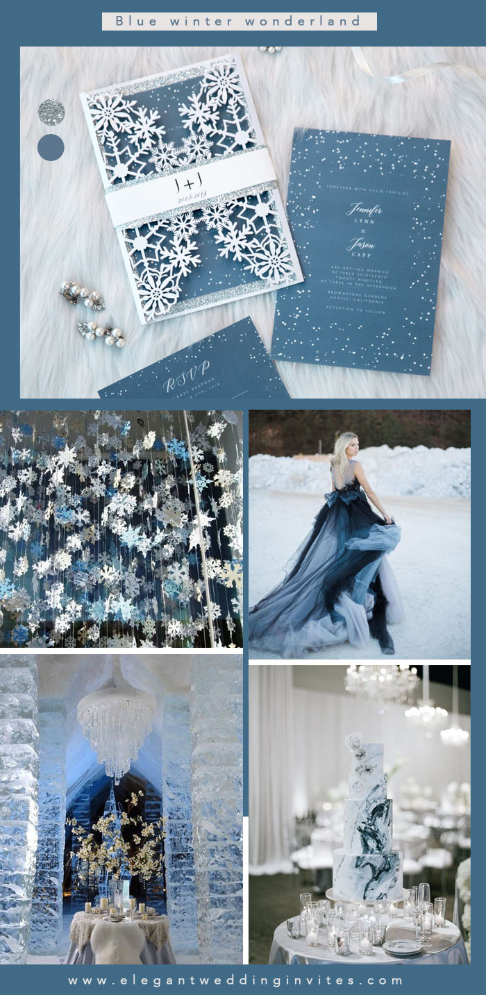 sky blue and silver glitter winter wonderland wedding colors