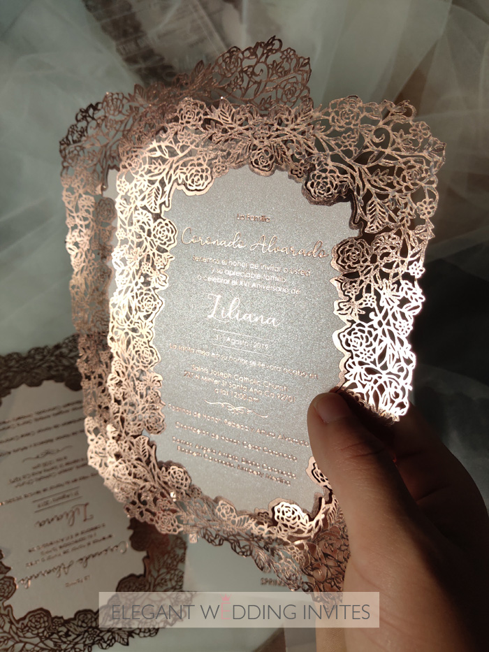 stunning rose gold foil laser cut wedding stationery