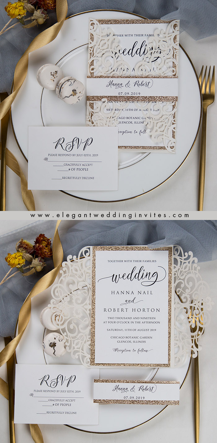 stylish ivory laser cut wedding calligraphy fonts and glitter gold belly band