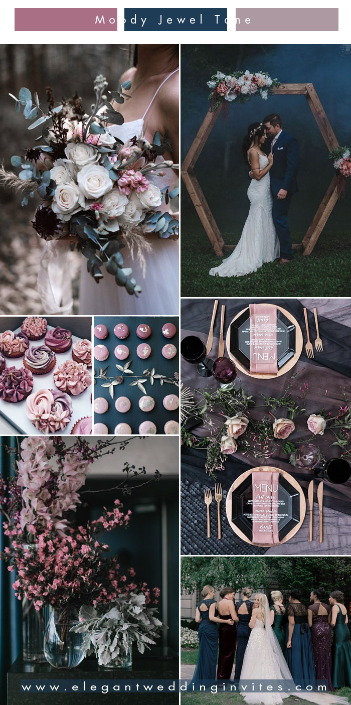 unique mulberry and dark teal blue jewel tone wedding colors