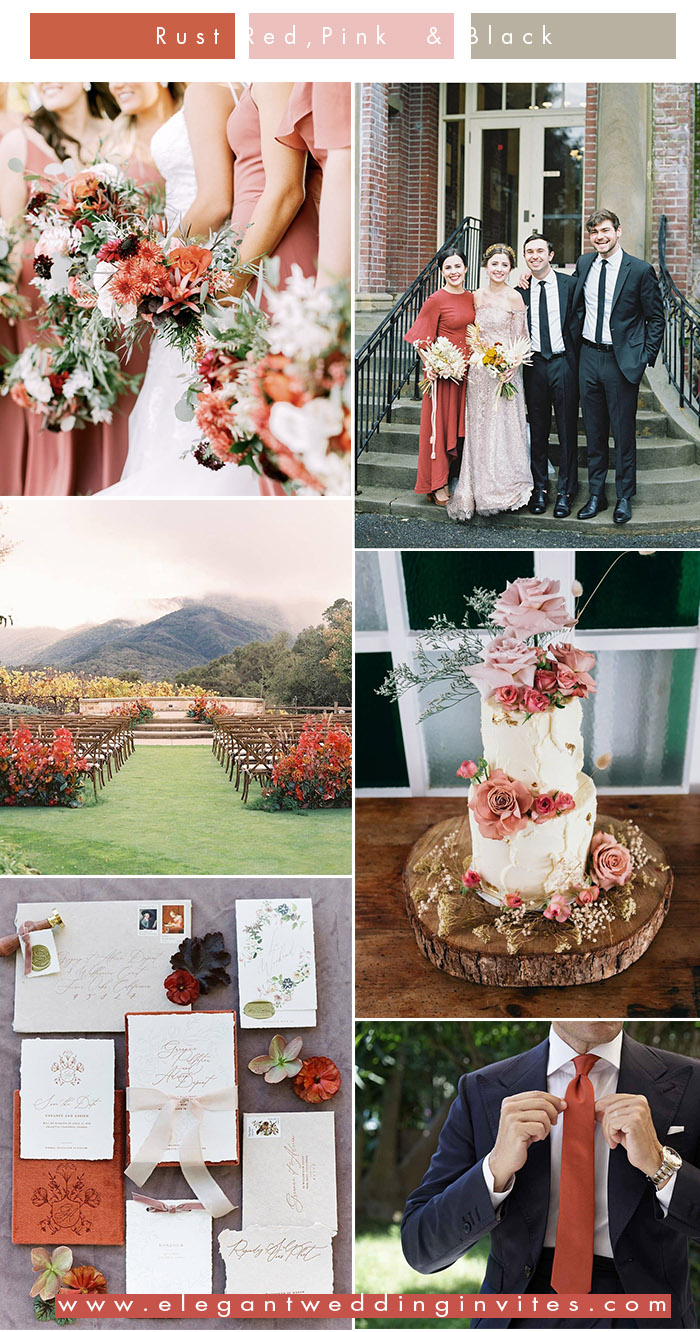 unique rust red and blush vintage chic wedding color inspiration