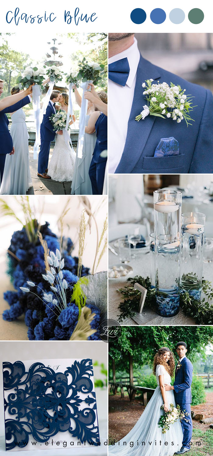 classic blue and ligth blue combined organic garden wedding color ideas