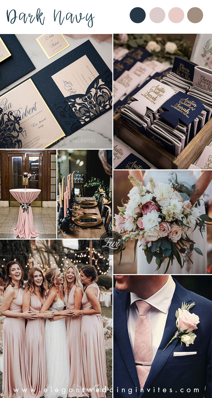 dark navy blue and dusty blush classic wedding colors