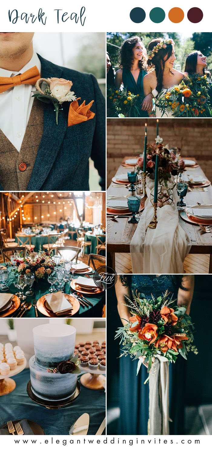 dark teal and orange fall wedding color ideas
