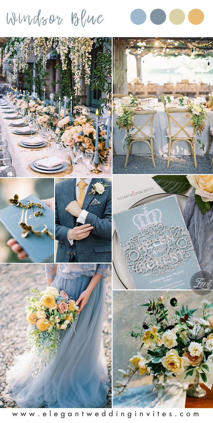 romantic windsor blue and pasterl yellow garden wedding color ideas